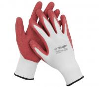 Садовые тонкие перчатки с рельефным латексным покрытием Зубр МАСТЕР р. XL 11274-XL