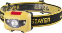 Налобный светодиодный фонарь STAYER MASTER 1Вт, 80Лм +2LED, 4 режима, 3ААА 56568