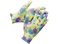 Садовые перчатки с прозрачным нитриловым покрытием Grinda зеленые, р. S-M 11295-S