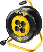 Удлинитель на катушке Stayer MS 207, 20 м, 1300 Вт, 4 гнезда, ПВС 2х0,75 мм2, 55073-20_z01