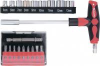 Отвертка с Т-образной эргономичной ручкой, набором бит и насадок, 19 шт., CrV MATRIX 11574