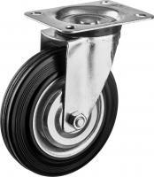 Колесо поворотное (160 мм, г/п 145 кг, резина/металл, игольчатый подшипник) ЗУБР 30936-160-S