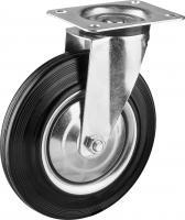 Колесо поворотное (200 мм, г/п 185 кг, резина/металл, игольчатый подшипник) ЗУБР 30936-200-S