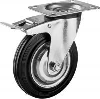 Колесо поворотное c тормозом (160 мм, г/п 145 кг, игольчатый подшипник) ЗУБР 30936-160-B