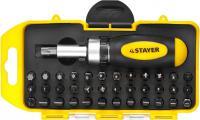 Реверсивная отвертка в наборе с битами STAYER 2557-H38, Cr-V сталь, 38 предметов 2557-H38