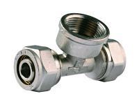 Тройник соединительный (20х20 мм, 3/4', 2 мм, цанга-гайка) для трубопровода Зубр 51406-20-3/4
