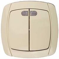 Двуклавишный выключатель с индикатором Светозар_ CITY LIGHT, SV-54235-B