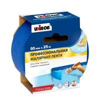 Лента малярная профессиональная UNIBOB 50ммх25м д/внутренних работ, синий, арт.48424
